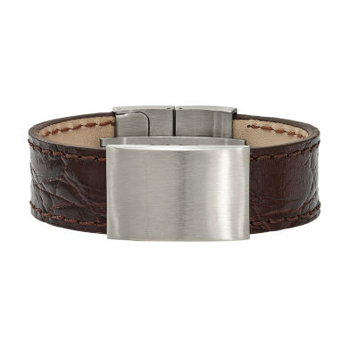 Mens Stainless Steel & Dark Brown Leather Id Bracelet