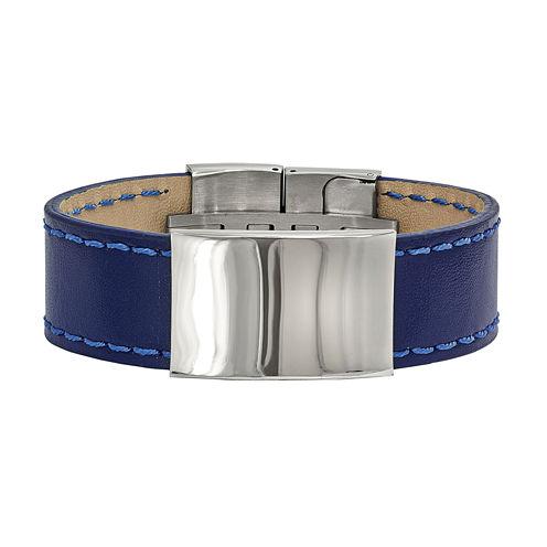 Mens Stainless Steel & Blue Leather Id Bracelet