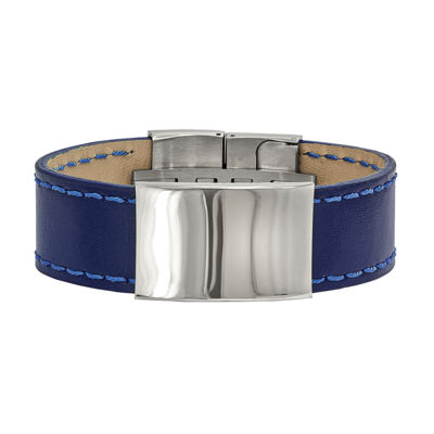 Mens Stainless Steel & Blue Leather Id Bracelet