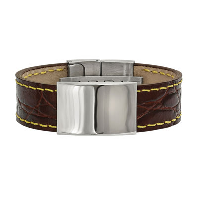 Mens Stainless Steel & Brown Leather Id Bracelet