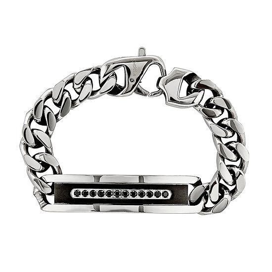 Mens Cubic Zirconia Stainless Steel Black Ip-Plated Id Bracelet