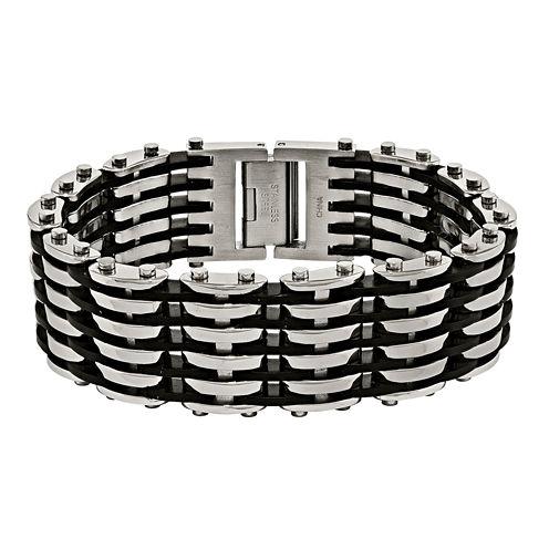 Mens Stainless Steel & Black Rubber Chain Bracelet