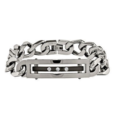 Mens Cubic Zirconia Stainless Steel Black Ip-Plated Chain Bracelet