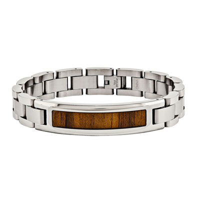 Mens Stainless Steel Wood Inlay Chain Bracelet