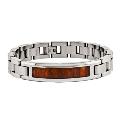 Mens Stainless Steel Red & Orange Wood Inlay Chain Bracelet