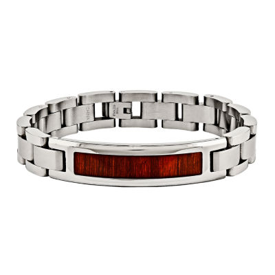 Mens Stainless Steel Red& Orange Wood Inlay Chain Bracelet