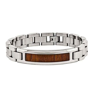Mens Stainless Steel Brown Wood Enameled Chain Bracelet