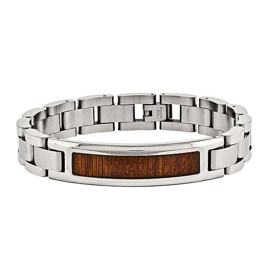 Mens Stainless Steel Brown Wood Enameled Chain Bracelet