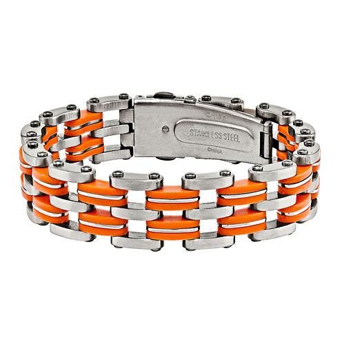 Mens Stainless Steel & Orange Rubber Bracelet