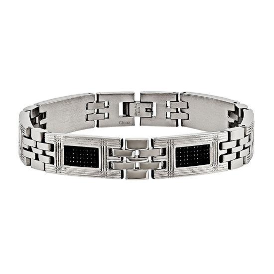 Mens Stainless Steel & Black Carbon Fiber Chain Bracelet