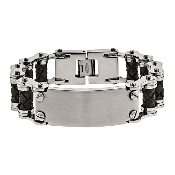 Mens Stainless Steel & Brown Leather Chain Bracelet