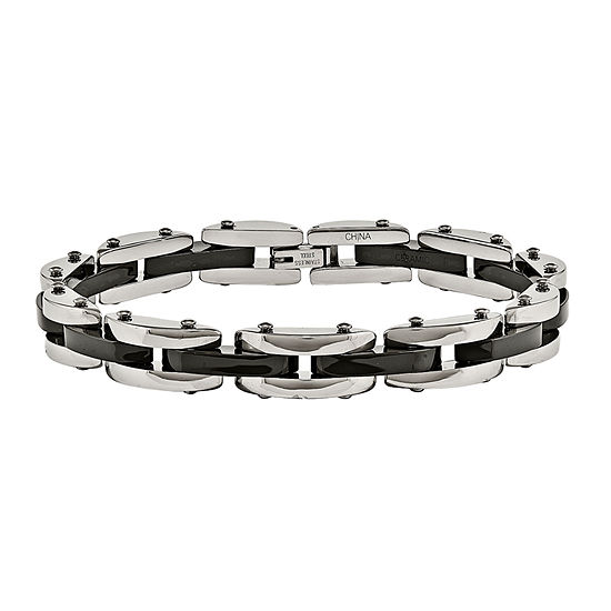 Mens Stainless Steel & Black Ceramic Chain Bracelet