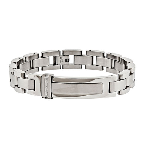 Mens 8.25 Inch White Cubic Zirconia Stainless Steel Chain Bracelet