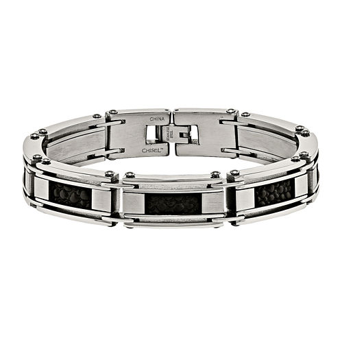 Mens Stainless Steel & Leather Stingray Chain Bracelet