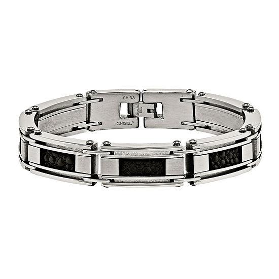 Mens Stainless Steel & Leather Stingray Chain Bracelet