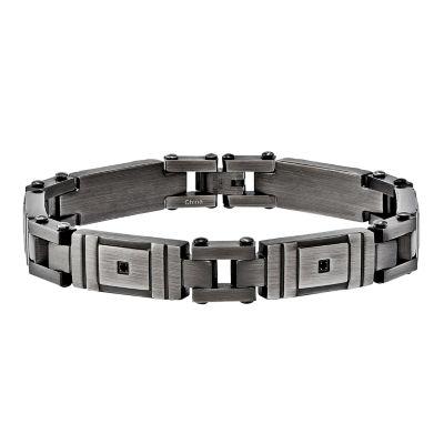 Mens Black Cubic Zirconia Stainless Steel Chain Bracelet