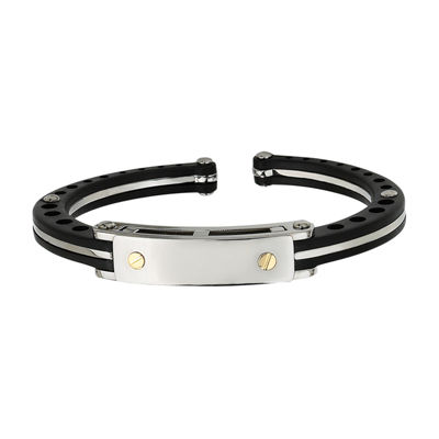Mens Stainless Steel &  18K Yellow Gold Accent Cuff Bracelet