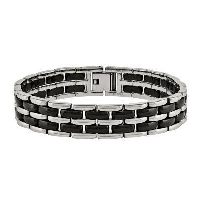 Mens Stainless Steel & Black Ceramic Chain Bracelet