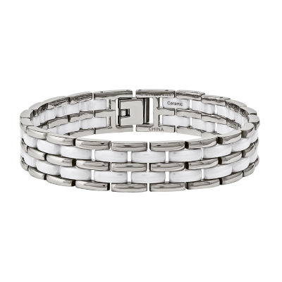 Mens Stainless Steel & White Ceramic Chain Bracelet