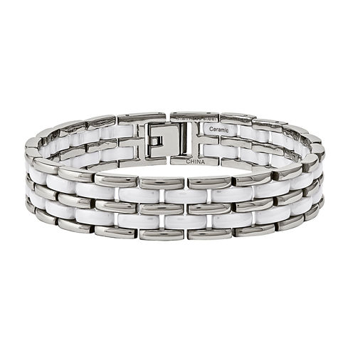 Mens Stainless Steel & White Ceramic Chain Bracelet