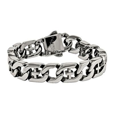 Mens Stainless Steel Cross Chain Bracelet