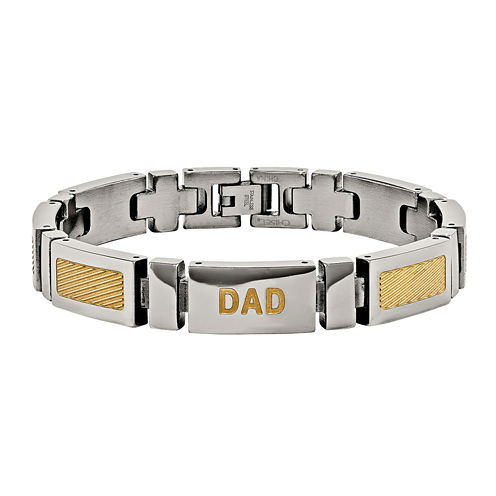 Mens Stainless Steel Yellow Ip-Plated Dad Chain Bracelet