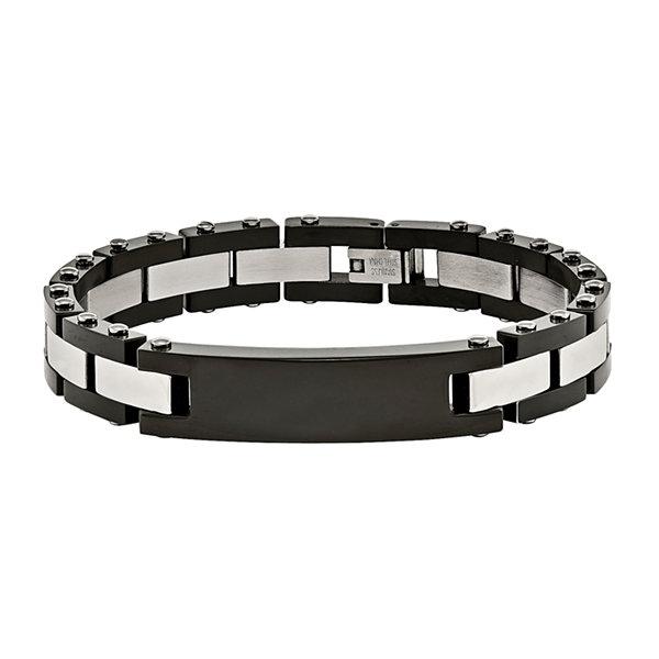 Fine Jewelry Mens Stainless Steel Black Ip-Plated Id Bracelet gLFYA