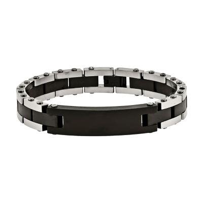 Mens Stainless Steel Black Ip-Plated Id Bracelet