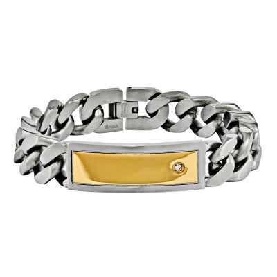 Mens Cubic Zirconia Stainless Steel & Yellow Ip Set