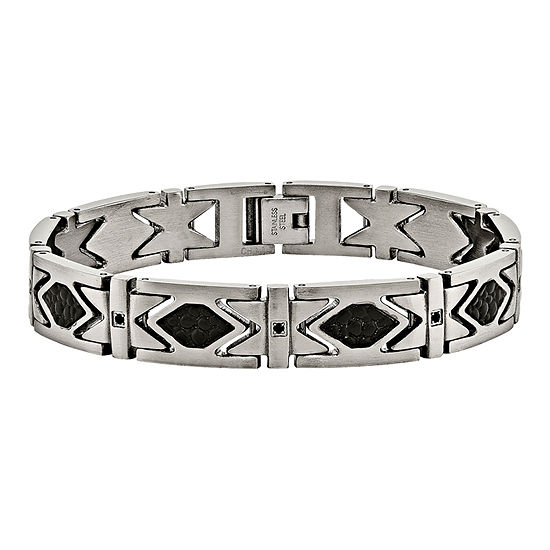Mens Black Cubic Zirconia Stainless Steel  & Leather Chain Bracelet