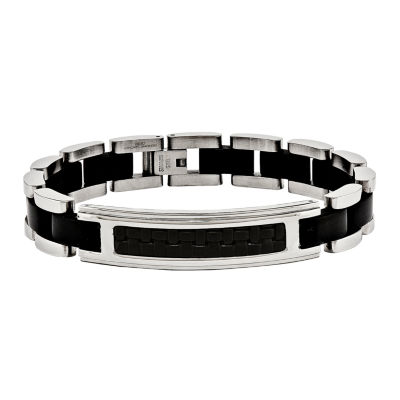 Mens Stainless Steel Black Ip-Plated & Leather Bracelet