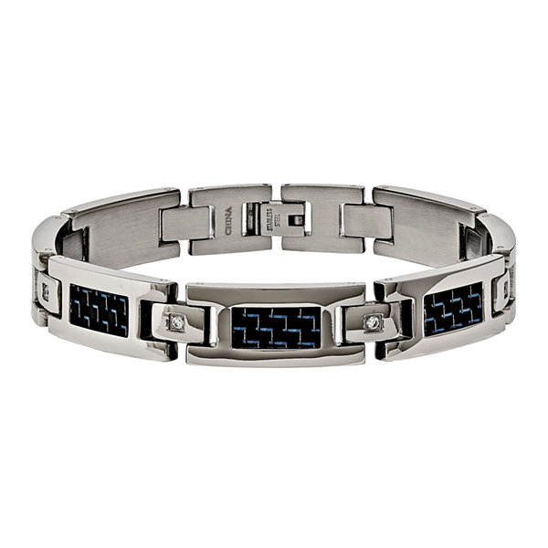 Mens Cubic Zirconia Stainless Steel & Blue Carbon Fiber Inlay Chain Bracelet