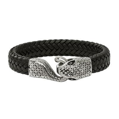 Mens Stainless Steel Leather Strap Snake Bracelet