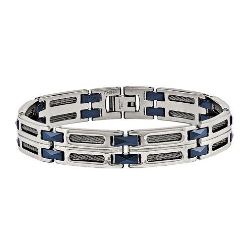 Mens Stainless Steel & Blue Ceramic Chain Bracelet