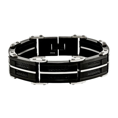 Mens Stainless Steel Black Ip-Plated Chain Bracelet