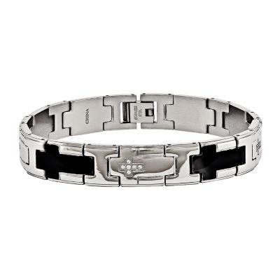 Mens Cubic Zirconia Stainless Steel Black Ip-Plated Cross Chain Bracelet