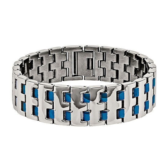 Mens Stainless Steel Blue Ip-Plated Chain Bracelet