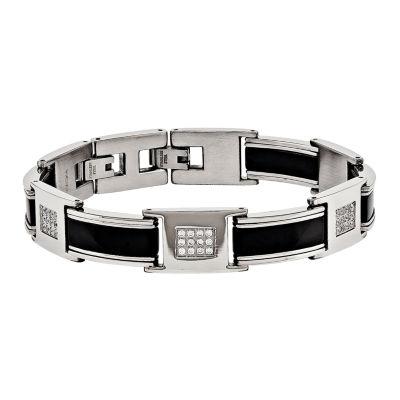 Mens Cubic Zirconia Stainless Steel Chain Bracelet