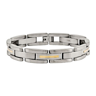 Mens Stainless Steel & 14K Yellow Gold Inlay Chain Bracelet