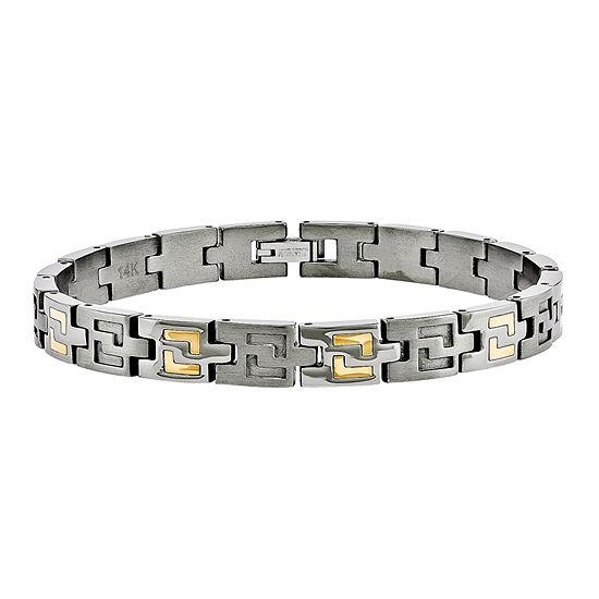 Mens Titanium & 14K Yellow Gold Inlay Accent Link Bracelet