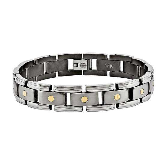 Mens Titanium & 14K Yellow Gold Inlay Accent Chain Bracelet