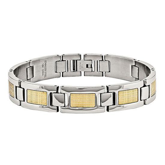 Mens Stainless Steel & 18K Yellow Gold Foil Chain Bracelet