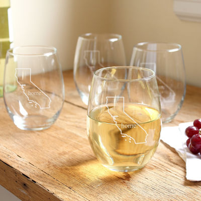 Cathy's Concepts Set of 4 Home State Stemless Wine Glasses