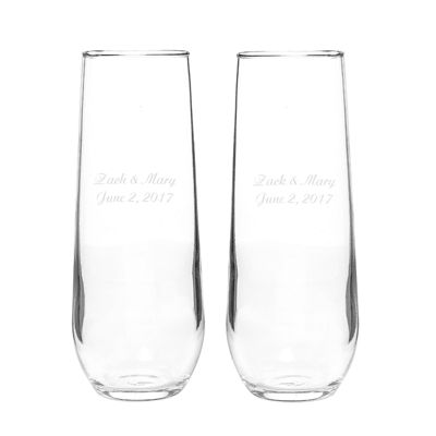 Cathy's Concepts Set of 2 Stemless Champagne Toasting Flutes