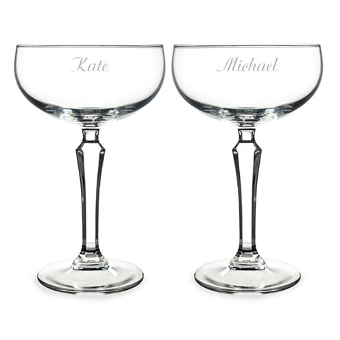 Cathy's Concepts Set of 2 Personalized Champagne Coupe Toasting Flutes