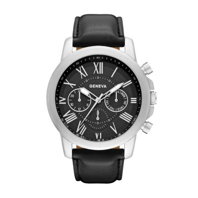 Geneva Mens Black Strap Watch-Fmdjm571