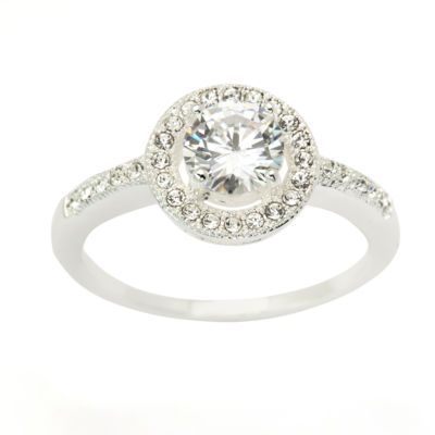 Sparkle Allure Womens Clear Silver Over Brass Cocktail Ring