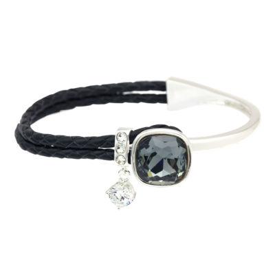 Sparkle Allure Womens Black Silver Over Brass Bangle Bracelet