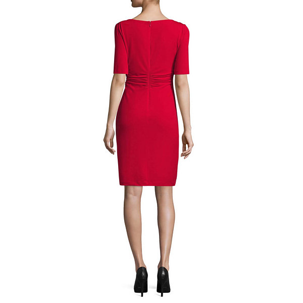 London Style Elbow Sleeve Sheath Dress-Petites