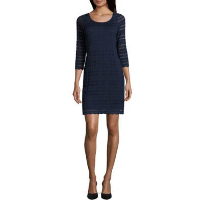 Ronni Nicole 3/4 Sleeve Sheath Dress-Petites